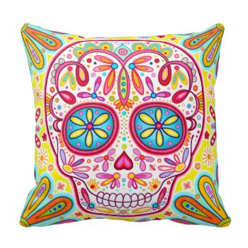 This Colorful Sugar Skull Pillow features an intricately detailed Mexican sugar skull surrounded by whimsical shapes and flowers, perfect for a Day of the Dead. This Sugar Skull Pillow is the original Dia de los Muertos art of Thaneeya McArdle. You can see more of Thaneeya's art at her website, www.thaneeya.com. #sugar #skull #day #of #the #dead #dia #de #los #muertos #calavera #dead #muertos #skull #colorful #psychedelic #cool