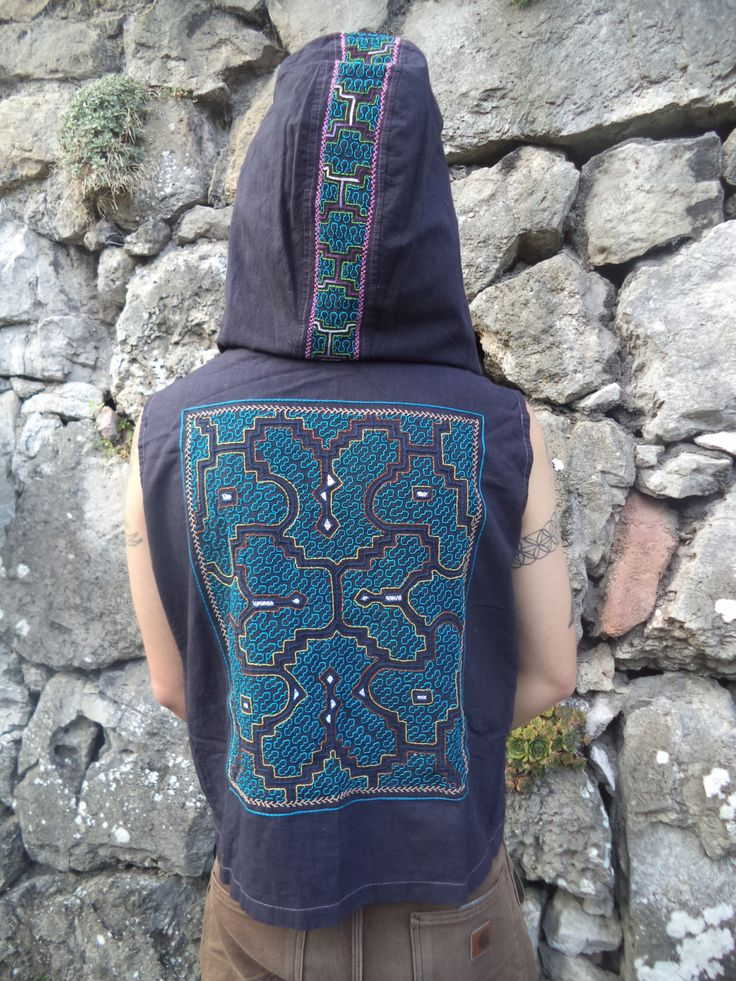 "Large 'Vortex releasing"" Men's Shipibo Hand Embroidered, Hooded Waistocat with Large Cowl Hood W21 by Shakruna on Etsy"