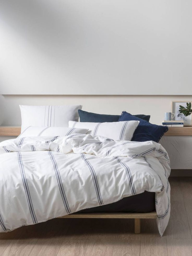 #LinenHouse Humphrey Quilt Cover Set #Shop #TheBedroomShopOnline- Whether your style is natural and rustic or sleek and contemporary, this simple stripe is an easy fit for most bedrooms. Woven from the softest, yarn-dyed cotton, perfect for layering with linens and rustic weaves for a cosy, textural appeal.