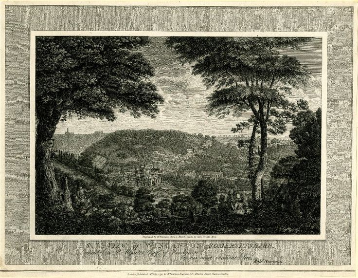 View of Wincanton, Somersetshire  View of the town from a hill: a group of three men resting under a tree in the left foreground, a woman and man seen from behind on the right; across a field, the town and a church at foot of a hill in the middle distance; shadow of another church on the horizon in the left background; published state.  1797  Etching