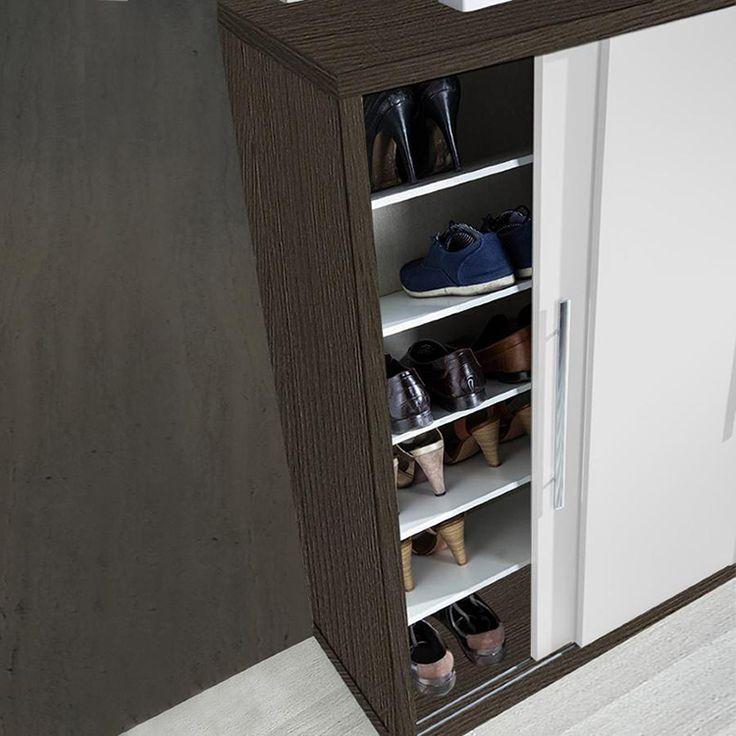 230 eur. Armoire à chaussures Chêne foncé / Blanc de 24 paires 80 x 121 x 35 cm
