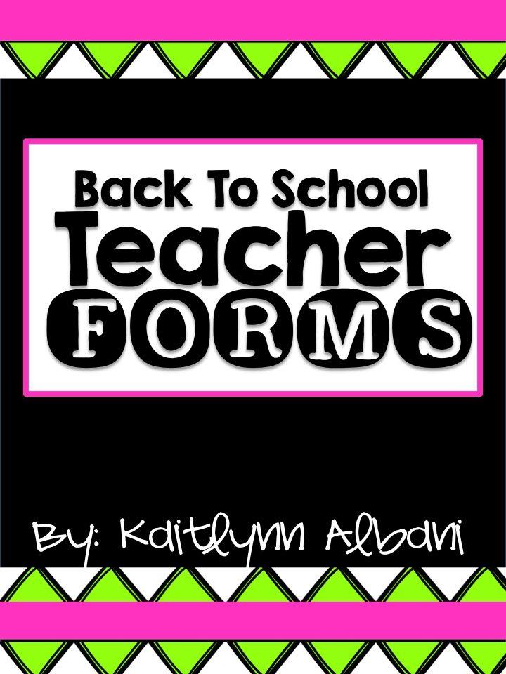 Back to School Teacher Forms - Substitute Binder