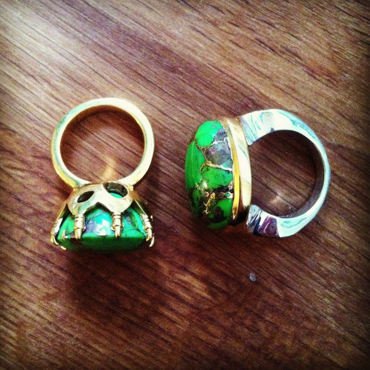 PUSHMATAaHA/ Claw Ring/ Paradise Ring/ both in Lime Copper Turquoise