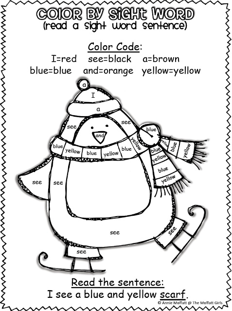 The Moffatt Girls Winter Color By Sight Word Sentences Pre Primer