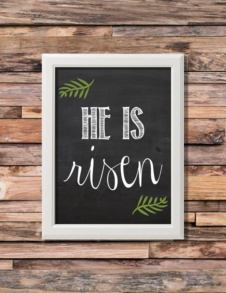 He Is Risen Easter Chalkboard Printable Artwork - 8x10 Digital Download by theorangeleaf on Etsy