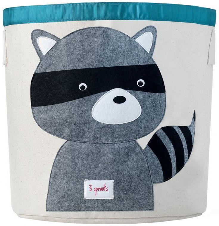 Aufbewahrung im Kinderzimmer | Grosse Waschbär Spielzeugtasche, 43 x 43,5 cm, von 3 sprouts