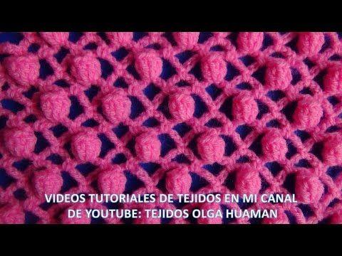 punto popcorn tejido a crochet para polo - YouTube
