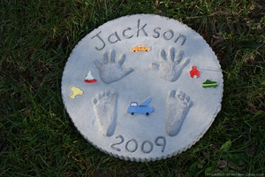 Making Stepping Stones with Baby Handprints & Footprints love doing this for grandparents.  You can even do this for older children