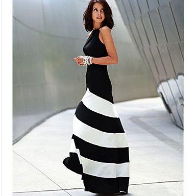 R.O.Abby Women's Fashion Sexy Thin Waisted Stripes Dress – USD $ 13.99