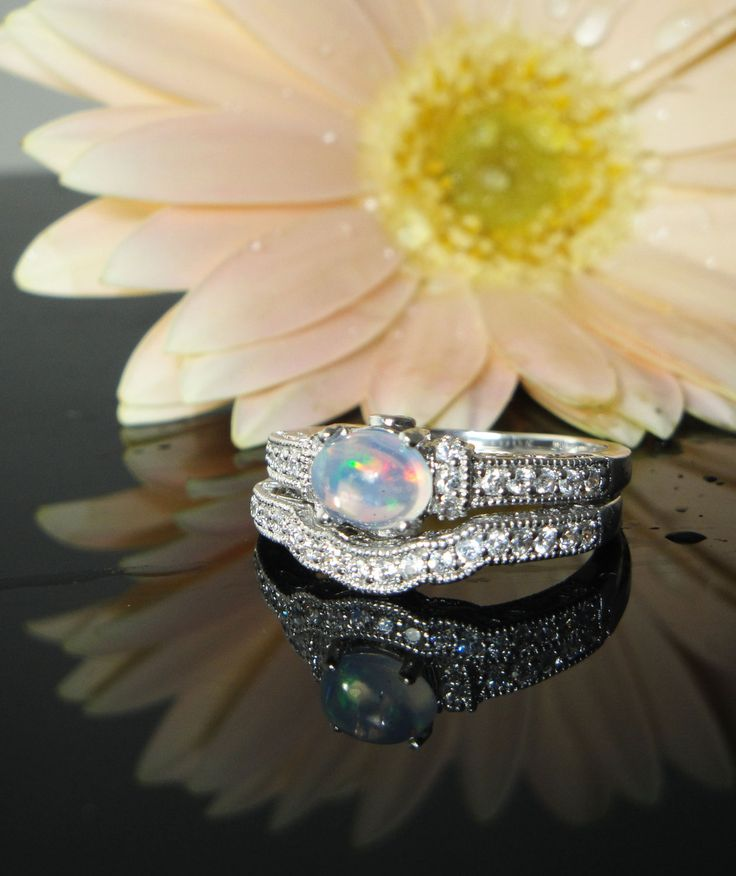 opal engagement ring and matching wedding band by greengem on etsy