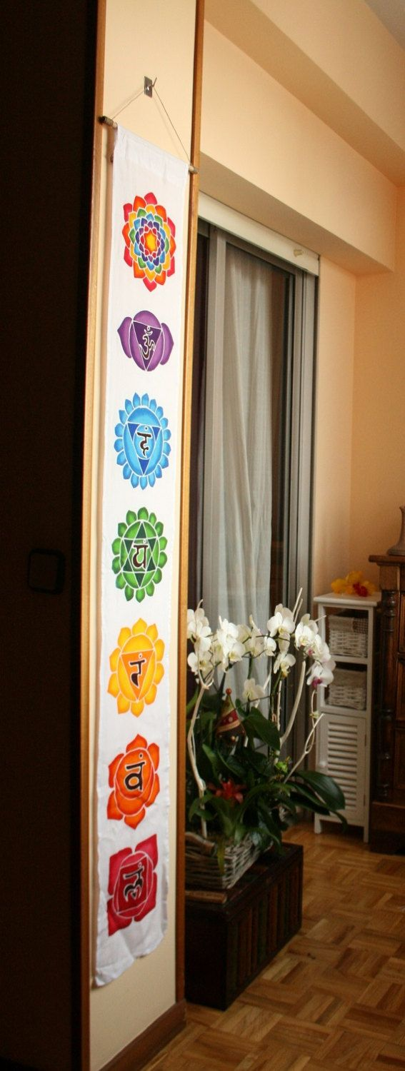 Wall hanging / Chakras Batik / Handpainted / Flags / Yoga decor / Spiritual…