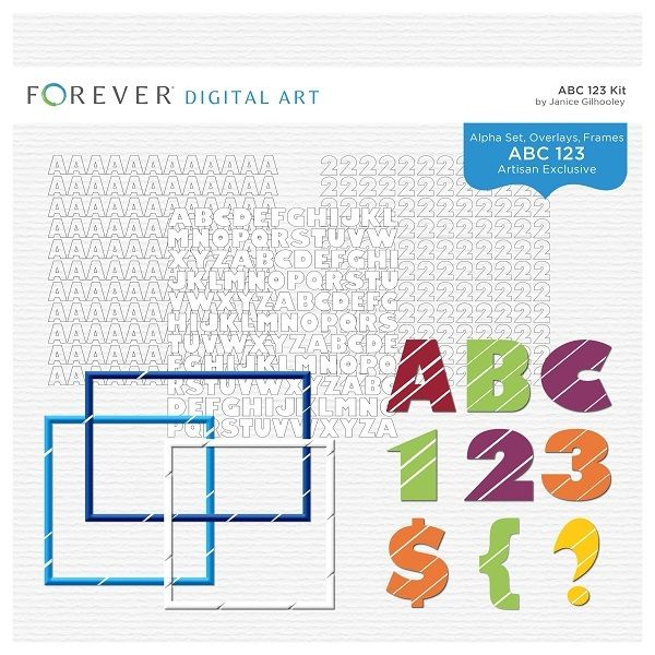 Abc 123 KitCo-ordinating Letter & Number Overlays, Alpha Set and Frames.Contains: 54 Alpha Overlays, 20 Number Overlays, 1 Alpha Set with alphas, 20 Frame EmbellishmentsAlso available in a Bundle with the ABC Pre-Designed Book.