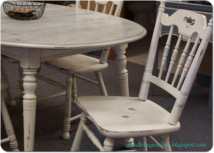 Doodle Bug: White U0026 Grey Distressed Table U0026 Chairs