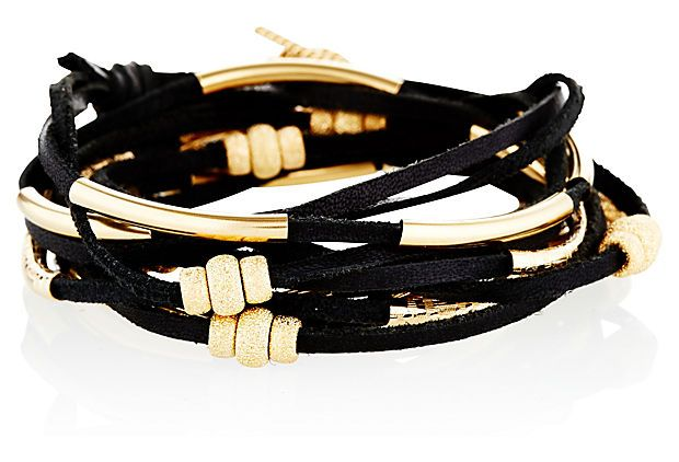 14K Gold Fill Leatherette Wrap, Black on OneKingsLane.com