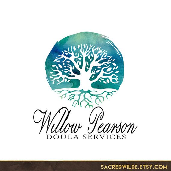 Watercolor Tree Logo Design, Watercolour Tree, Tree with Roots, Roots and Wings, Tree of Life, Doula Logo, Midwife Logo