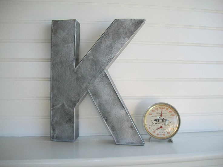 Painted Letter 12 Inch Tall Wall Letters Zinc Metal Rustic