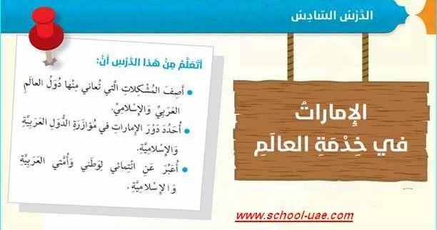 متابعى موقع مدرسة الامارات ننشر لكم حلول درس الإمارات فى خدمة العالم مادة التربية الاسلامية للصف السادس الفصل الدراسى الأول وفقا لمنهاج Uji Novelty Sign School