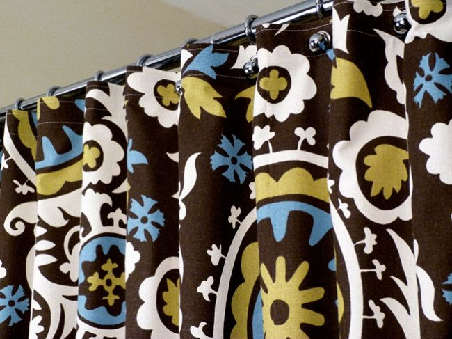 Brown Shower Curtain With Off White And Blue Celtic Patterns On Brown