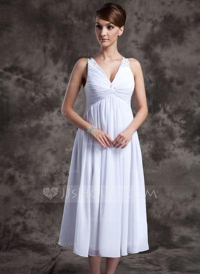 Forme Princesse Col V Longueur mollet Mousseline Robe de demoiselle d'honneur avec Plissé Emperler (007025845)