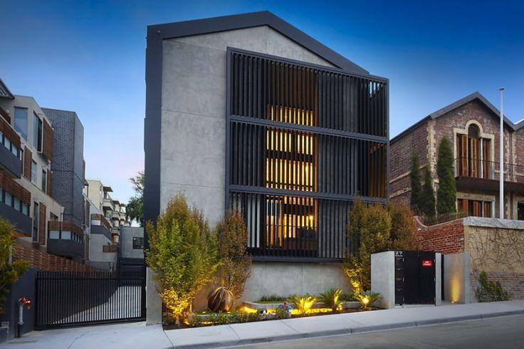 The Block Triple Threat - Featuring black Louvreline motorised vertical sun louvres