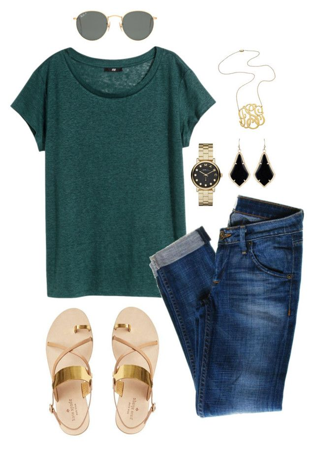 """Untitled #178"" by jlmurray411 ❤ liked on Polyvore featuring H&M, Hudson Jeans, René Caovilla, Jennifer Zeuner, Marc by Marc Jacobs, Kendra Scott and Ray-Ban"