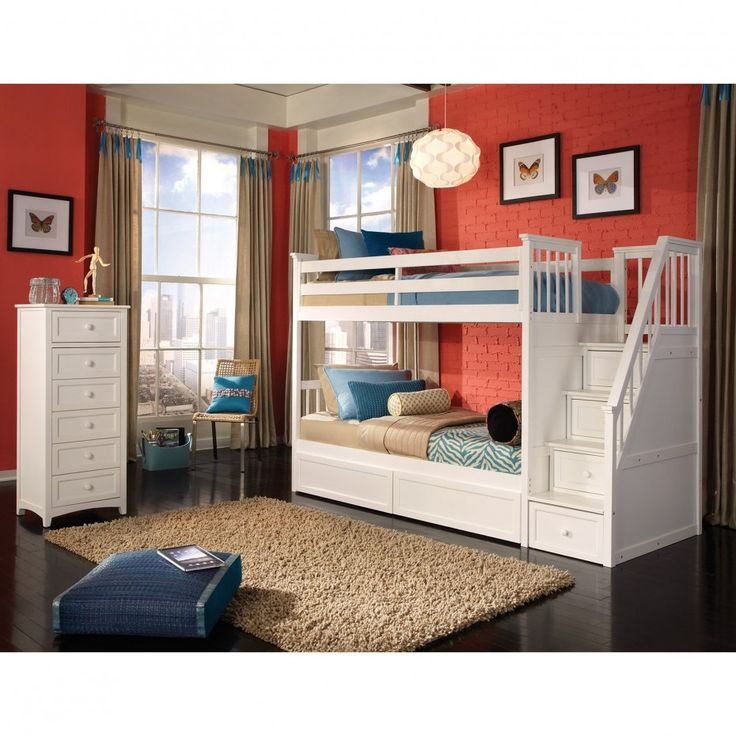 Kids Bedroom Interior With White Wooden Bunk Bed And Rectangular Brown Fur  Rug Plus White Wooden