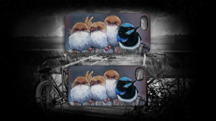 'All in a Row' by Sally Ford'. #Birds #Fluffly #Cute #iPhone #Cases #Art #Artmobilis