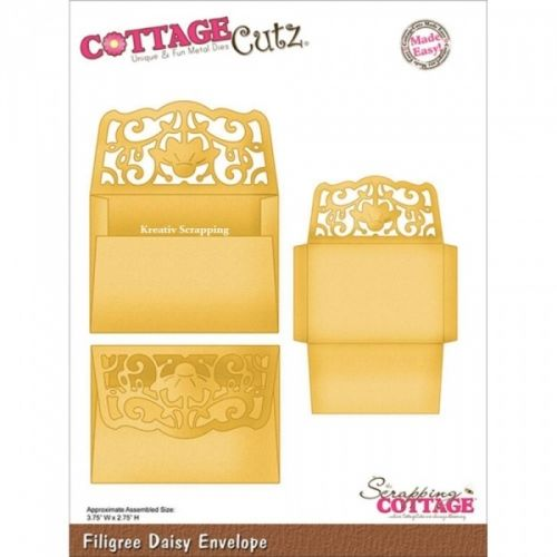 COTTAGECUTZ - CX015 - FILIGREE DAISY ENVELOPEDe er enkle å bruke og du får flotte detaljer til dine prosjekter.  Approximate Assembled Size:2-3/4x3-3/4 inchesCOTTAGE CUTZ: Cottage Cutz Die. With design styles that are cute and adorable; fun and whimsical; and classically elegant these universal wafer-thin dies make a great addition to your paper crafting supplies. Cut amazing shapes out of paper; cardstock; adhesive-backed paper; vinyl; vellum and more. ...