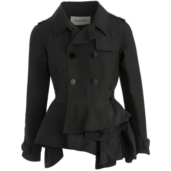 Pre-owned Valentino Black Trench Coat ($552) ❤ liked on Polyvore featuring outerwear, coats, black, short coat, short trench coats, double-breasted trench coat, floral print coats and double breasted coat