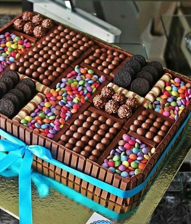 I'm not even checking if this is a recipe...... Don't B dumb the picture says enough about how to do this to ANY CAKE!!!!! If I ever work 4 another bakery again, this is happening! Candy AND cake?! Shut the front door. ~ ₪•BE•₪ ~