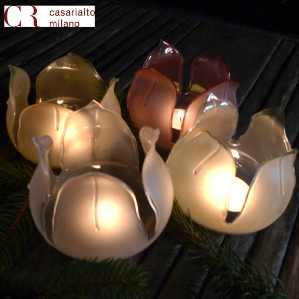 Amapola. Charming lighting glass flower shape. Slightly coloured on the inside and sanded on the outside. Mouth blown and hand finished are perfect for tea lights or any plant or flower decoration.