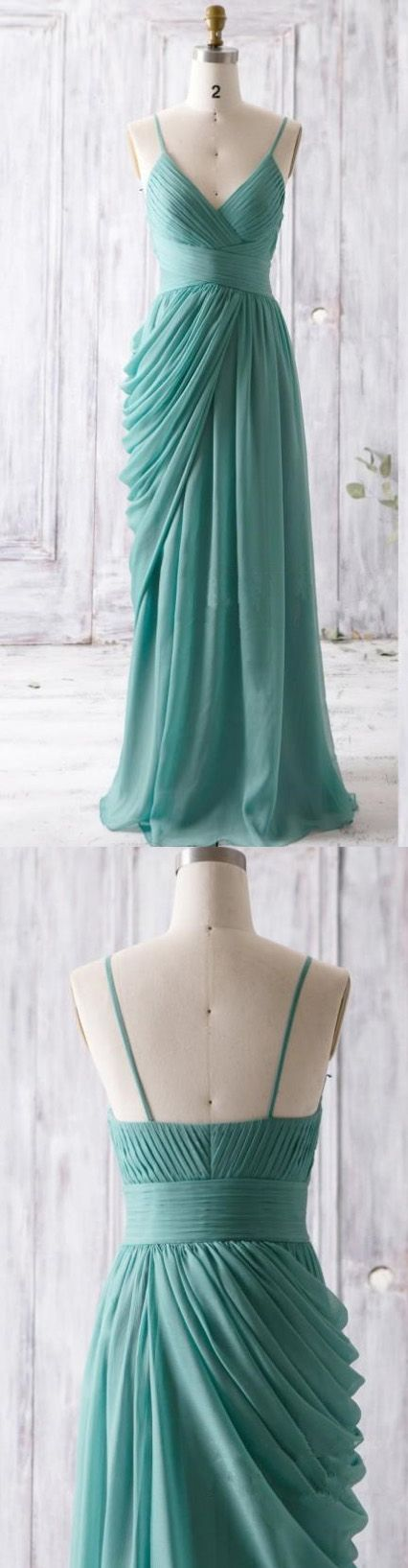 Backless Spaghetti Prom Dress,Pleated Prom Dress,Custom Made Evening Dress,17074