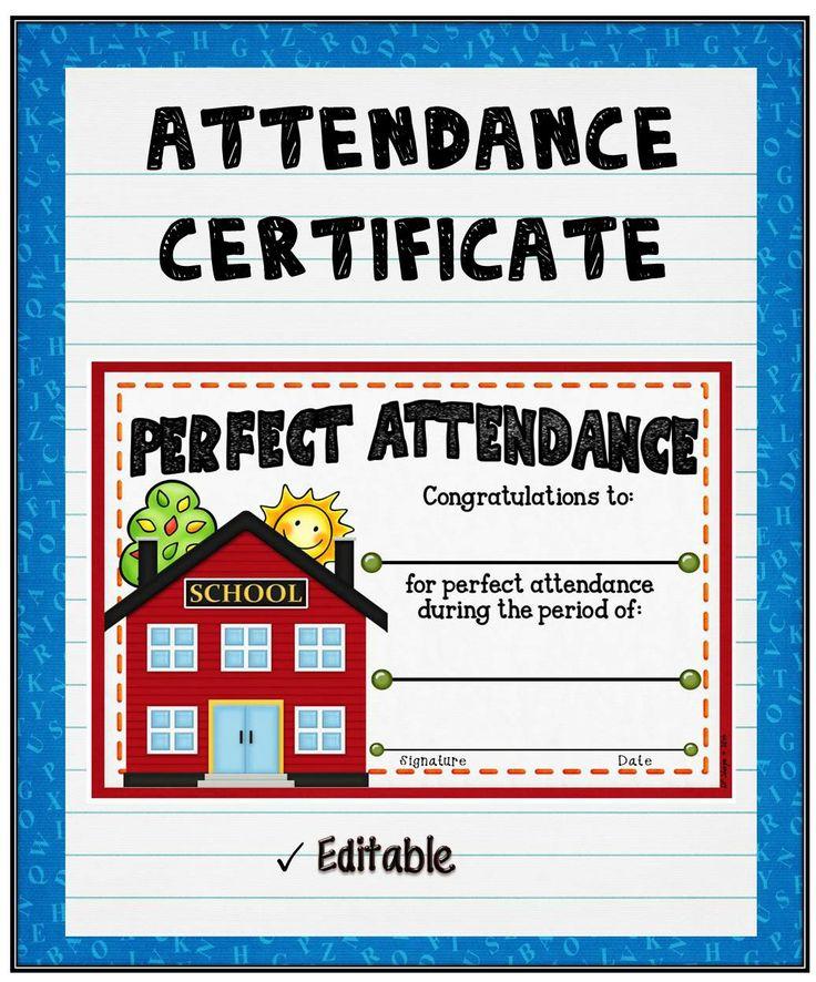 The 25+ best Attendance certificate ideas on Pinterest - free printable perfect attendance certificate template