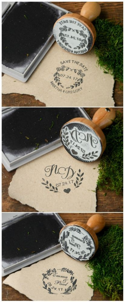 Rustic wreath wooden stamps - customized with your details #wedding #stamp #rusttic #custom #unique #creative #weddingideas #wreath
