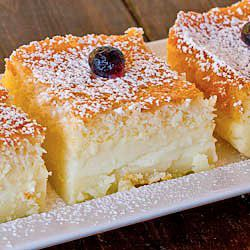 Magic Cake - one simple thin batter, bake it and voila! You end up with a 3 layer cake, magic cake.
