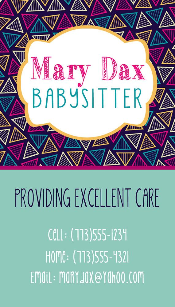 7 best Babysitting Ideas images on Pinterest Business cards, Carte