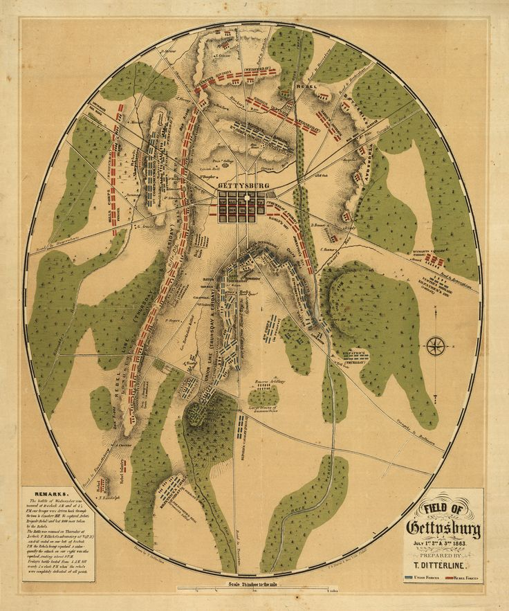 This oval-shaped map depicts Gettysburg Battlefield during July 1st, 2nd & 3rd, 1863. Prepared by Theodore Ditterline and published by Philada. P. S. Duval & Son lith. in 1863, the map reveals the troop and artillery positions and movements, relief by hachures, drainage, roads, railroads, and houses with the names of residents at the time of the Battle of Gettysburg.