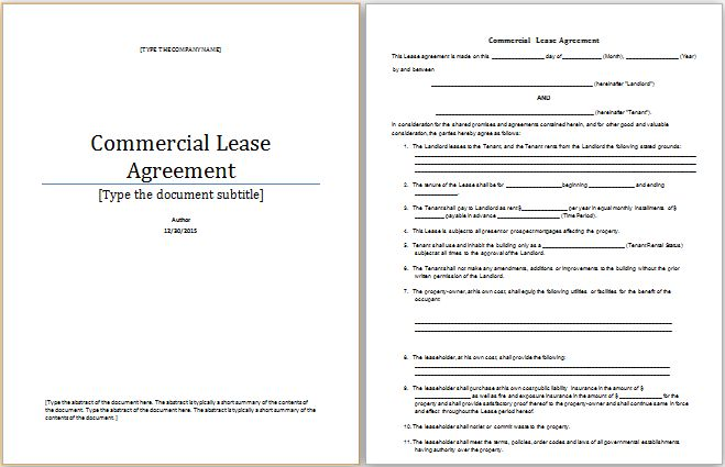 commercial lease agreement template at worddox.org