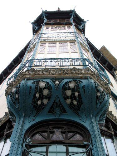 Blue building in Art Nouveau style. Nancy, France. [art_nouveau building Nancy]                                                                                                                                                      Plus
