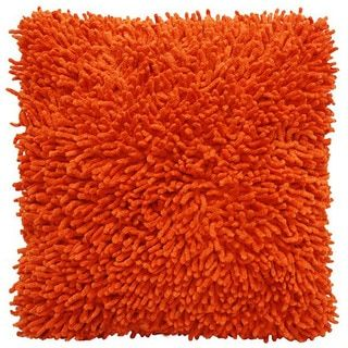 Orange Shagadelic Chenille 18-inch Double Sided Decorative Pillow - 15063458 - Overstock.com Shopping - Great Deals on Throw Pillows