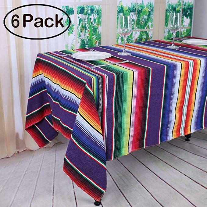 Koyal Pack Of 6 57 X 102 Inch Mexican Serape Tablecloth For Mexican Party Wedding Decorations Fringe Cotton Table Mexican Tablecloth Striped Table Table Cloth