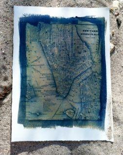 Double process cyanotype + Van Dyke brown map print of NYC & Brooklyn
