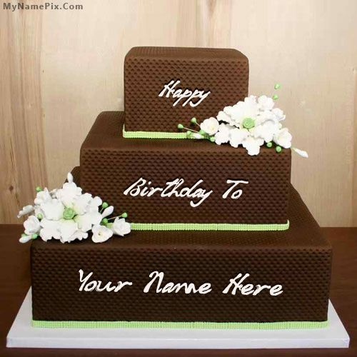 Write Name On Chocolate Shaped Birthday Cake Picture