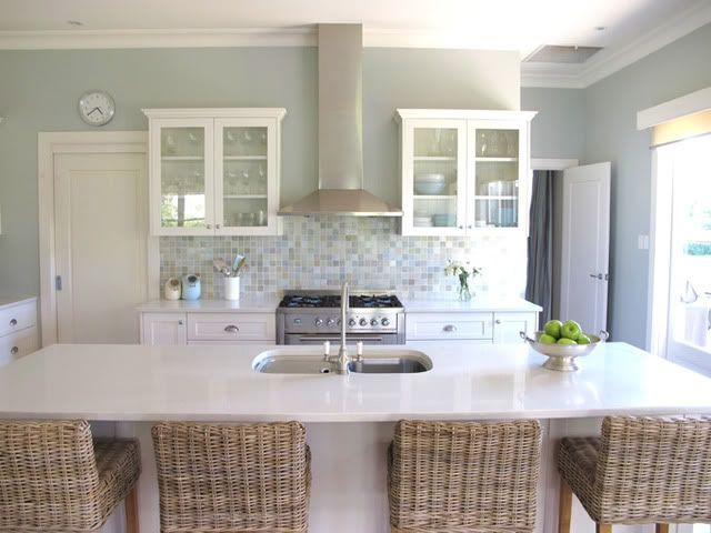 Grey/green kitchen photo 2.Wall Colors, Ideas, Barstools, Kitchens Design, Colors Schemes, House, Bar Stools, Painting Colors, White Kitchens