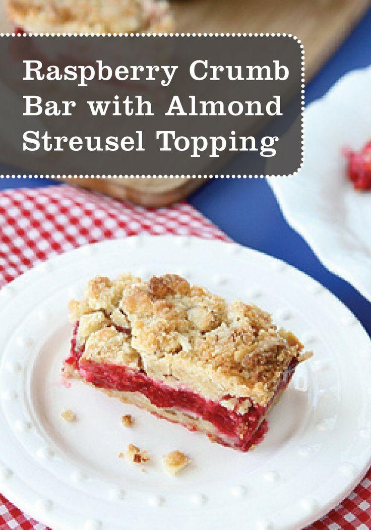 Raspberry Crumb Bar Recipe with Almond Streusel | Recipe | Streusel ...