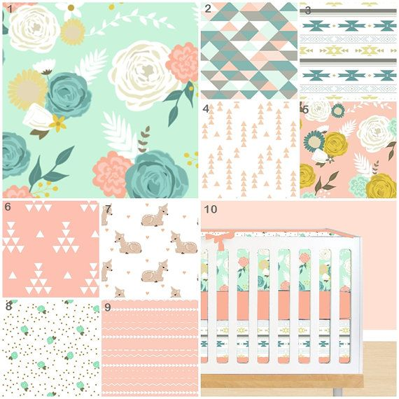 Fawn Crib Bedding GirlAutumn Forest Baby Bedding, Crib Bedding, Coral Peach Mint Turquoise Gold Floral Tribal Triangle Aztec Nursery