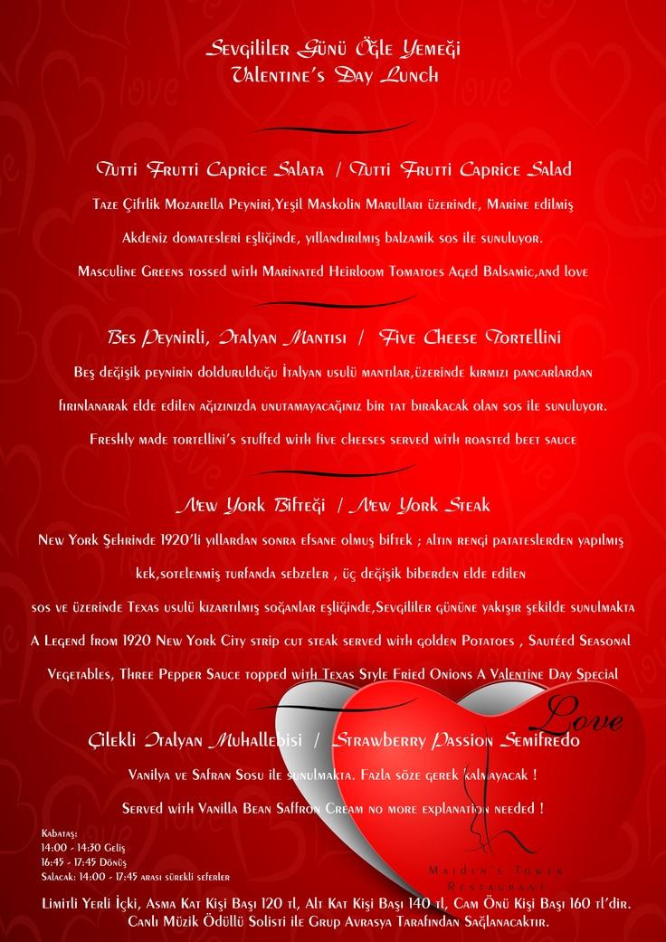 Kizkulesi'nde Sevgililer Günü Öğle Yemeği Menusü  Valentine's Day Lunch menu   #kizkulesi