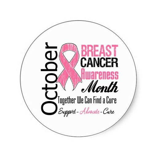 Breast Cancer Awareness | October - Breast Cancer Awareness Month Round Stickers | Zazzle.co.uk