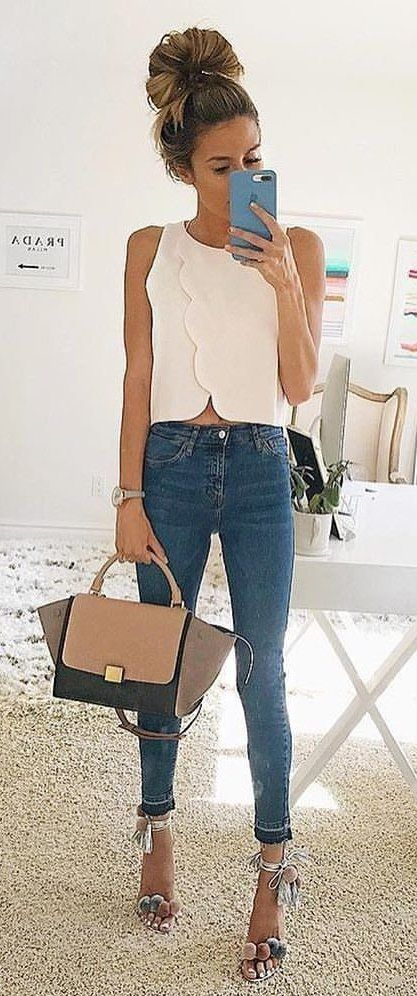 #fall #outfits White Tank + Skinny Jeans + Camel Tote Bag