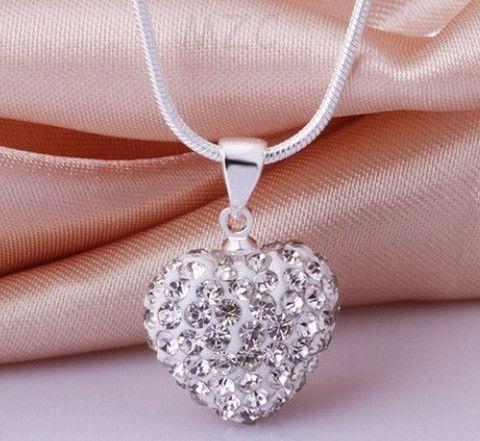 Infinity Shamballa Heart Necklace White
